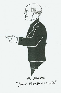 Davis's desire to help students succeed in a vocation is illustrated in this drawing of him by a student.