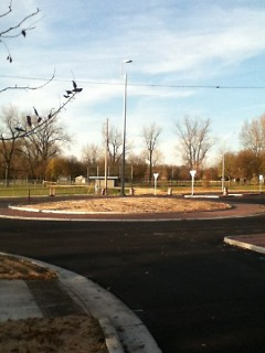 Traffic circle at 3 Mile and Monroe Avenue