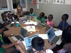 Children learning at the West Michigan Refugee Education and Cultural Center.