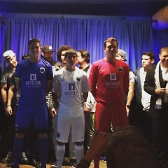 Grand Rapids Football Club members model the 2016 uniforms during a fan event at SpeakEZ Lounge in Grand Rapids.