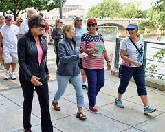 Michelle Covington (Left) Mayor Bliss and  Lupe Ramos-Montigny (Red white and blue top) Walking in the Labor day walk.