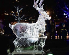 A ice carving of a reindeer on display at Rosa Parks Circle