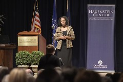 Christy S. Coleman responds with the audience during Q&A