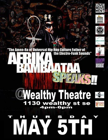 Poster for Bambaataa's lecture at Wealthy Theatre