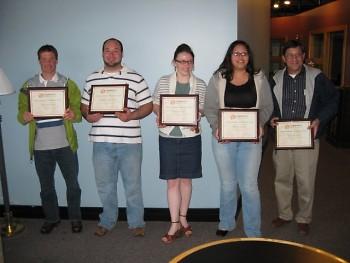 CMC Outstanding Volunteers (Nate Diedrich, Michael Tuffelmire, Beth Bremer, Maria Gomez, and Don Missad)