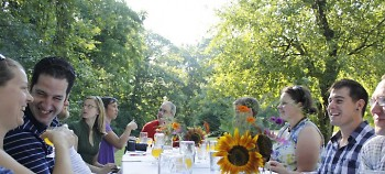 Guests of the Farm to Table dinner with Brewery Vivant enjoying the freshly prepared courses