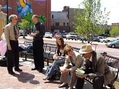 Commissioner Talen (far left) and Jay Fowler during Lunch in the Park