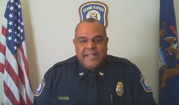 GRPD Chief Eric Payne presenting his department's strategic plan during a virtual City Commission meeting on Tuesday.