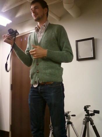 John Hanson leading a workshop on photography at Sass Fest