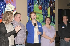 Lauren Taylor, in blue, announcing that she would be running for Michigan's State Representative for the 86th district.
