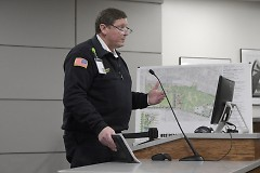 Grand Rapids Fire Chief John Lehman addresses the city commission about the up coming flooding on Tuesday February 20, 2018
