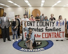 Protestors take over the Kent County Commissioners meeting