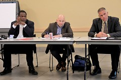 Kent County's Robert Womack, Matthew VanZetten and Chuck Dewitt at Monday night's meeting