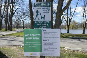 Welcome sign at Riverside Park in Grand Rapids.