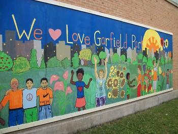 Mural at Garfield Park in southeast Grand Rapids.