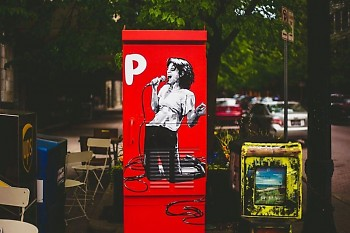 """""""P is for Patti Smith"""" painting – part of the Rad American Women public art project – in downtown Grand Rapids."""