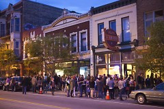 Crowds downtown on Friday night