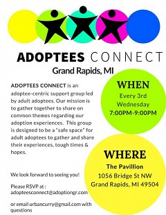 Adoptees Connect - Grand Rapids meeting flyer