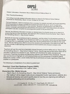 GRPS letter sent to parents about the walkout