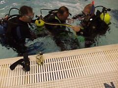Preparing for dive