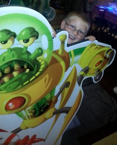 Silas Bromley plays a large scale version of King of Tokyo.