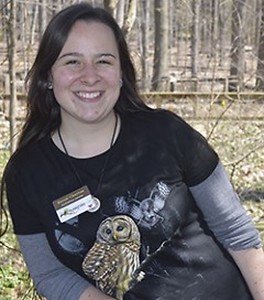 """I want them to love it,"" environmental educator Sarah Chertos says of students visiting Blandford Nature Center"
