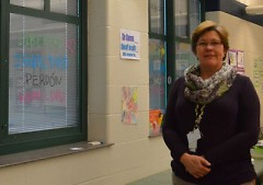 Forest Hills teacher Ingrid Fournier, who keeps her classroom windows' blinds closed, is opposed to arming teachers