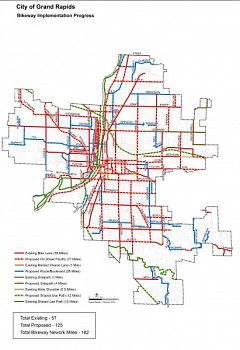 Map of Grand Rapids City bike lane implementation process