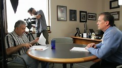 Alaimo and Bannasch preparing to interview Patrick Rooney, associate dean at Lily Family School of Philanthropy (IU).