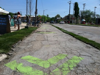 Bicycle lanes were created to show the benefits of a complete street.