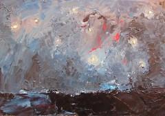 Sheryl Budnik, Night Sky Over Ocean, oil on panel
