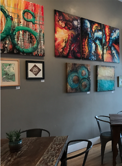 Artwork on display inside the cafe