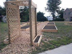 Raised vegetable beds prior to planting at the Well House community garden, located at Sheldon Avenue and Pleasant Street.