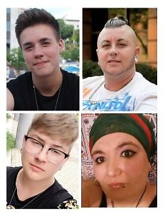 Clockwise from upper left: Hal, Beau, Aaminah, & Finn