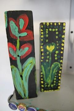 Flower blocks made from reclaimed wood.