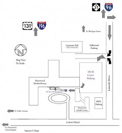 Map to free Dominican Center parking lot.