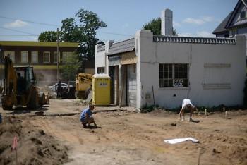 Beginnings of construction show original building condition