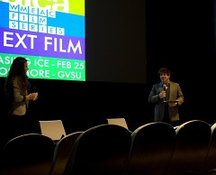 Stephanie Mabie and Nick Occhipinti hosting a Q&A session following the film.