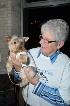 Carrol Cook, co-owner of Presto Print, brought her Yorkshire terrier to last year's Bow-Wows and Brews.