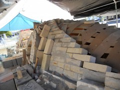 The nearly completed Anagama kiln. It is still missing its chimney.