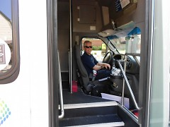 Shuttle Bus Driver Jeff Parks is one of three drivers to take visitors around tour.