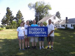 The Lindberg Family at their centennial family farm. (l-r: Sarah, Becky, Billy, Brenda and Jeff Lindberg.)