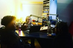 WYCE Recording Studio; Katie interviewing Lady Ace Boogie and Fable the Poet in Feb. 2016