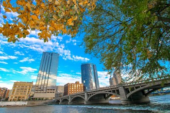 Downtown Grand Rapids during the fall season.