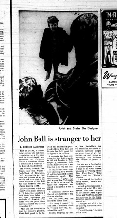 Gertrude Van Houten featured in a newspaper article after designing the John Ball statue
