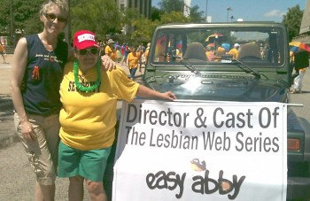 Parade of Pride Committee member Nancy Gallardo (right) invited producer Wendy Jo Carlton (left) to participate in the parade.