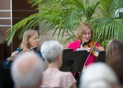Grand Rapids Symphony flutist Judy Kemph and violinist Diane McElfish Helle perform.
