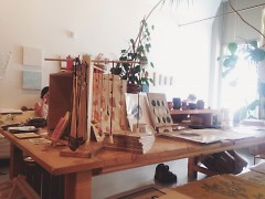 A table at Have Company with various handmade items.
