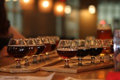Two flights of samples at Perrin Brewing Co.