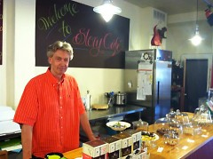 Billy Angel behind the counter at Story Cafe